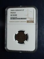 1849A GERMANY PRUSSIA TWO PFENNINGE NGC AU58 BN COIN PRICED TO SELL NOW