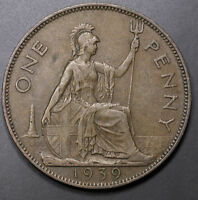 1939 GREAT BRITAIN ONE PENNY FOREIGN COIN    HIGH GRADE  LOW S&H