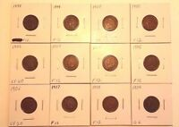 LOT OF 12 INDIAN HEAD CENTS 1898 1909 G VF