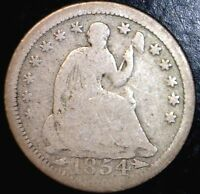 1854 SEATED HALF DIME FULL RIMS G  SILVER US COIN LOT 2   MAKE AN OFFER