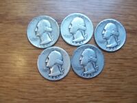 NICE LOT OF 5 90 SILVER WASHINGTON QUARTERS1943 TO 1947 1944 1945 1946