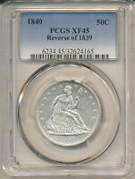 1840 REVERSE OF 1839 SEATED LIBERTY HALF XF45 PCGS   WB 11 R 3