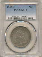 1843 O SEATED LIBERTY HALF XF40 PCGS   WB 14 R 3