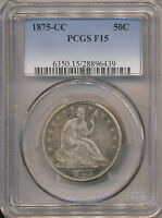 1875 CC SEATED LIBERTY HALF F15 PCGS  WB 10 R 3