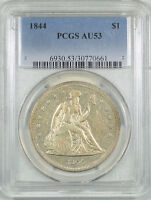 1844 LIBERTY SEATED DOLLAR PCGS AU 53. THE REEDED EDGE