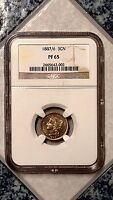 1887/6 7 OVER 6 OVER DATE VARIETY 3CN THREE CENT NICKEL   NGC  PF65   2665642