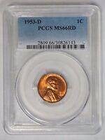 1953 D 1C LINCOLN WHEAT CENT PENNY PCGS MINT STATE 66RD RED
