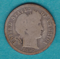 1895 O G BARBER DIME WITH FULL RIMS