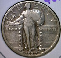 1927 VF  STANDING LIBERTY QUARTER US SILVER COIN ESTATE FIND LOT 5  NO RESERVE