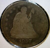 1857O LIBERTY SEATED QUARTER SILVER COIN BETTER DATE LOT  1857 O N