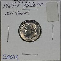 1969 D ROOSEVELT DIME MS FULL TORCH