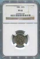 1882 PROOF 3 CENT NICKEL. NGC PF62