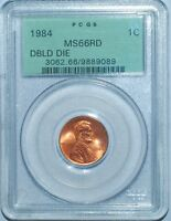 1984 PCGS MS66RD FS 101 RED DOUBLED DIE OBVERSE DOUBLE EAR LINCOLN CENT OGH