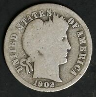 1902 CIRCULATED BARBER DIME COIN
