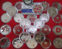 VARIOUS ROYAL MINT/ POBJOY  POPPY COINS 5 CROWNS AND MEDALLIONS PROOF SILVER BU