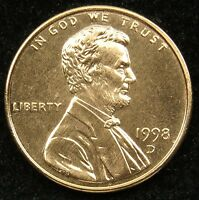 1998 D UNCIRCULATED LINCOLN MEMORIAL CENT PENNY BU B02