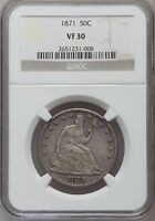 1871 SEATED LIBERTY HALF DOLLAR NGC VF 30 LOW MINTAGE