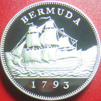 1793 1993 BERMUDA $2 SILVER PROOF SAILING SHIP W/COA  COIN  LOW MINT 5 000