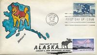 FDC ALASKA DOUBLE FDC ISSUE 1959 AND 2009 HAND PAINTED CACHET BY BARNNIE