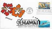 FDC HAWAII DOUBLE FDC ISSUE 1984 AND 2009 HAND PAINTED CACHET BY BARNNIE