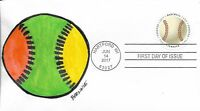 FDC HAVE A BALL BASEBALL ALL NEW FDC FOR 2017 HAND PAINTED CACHET BY BARNNIE