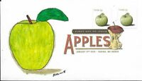 FDC APPLES GRANNIE SMITH STAMPS 2013 HAND PAINTED CACHET BY BARNNIE