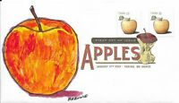 FDC APPLES FUGI OR GALA STAMPS 2013 HAND PAINTED CACHET BY BARNNIE