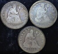 1853 1853O 1854 SEATED QUARTER SILVER ESTATE SALE LOT OF 3 COINS W/