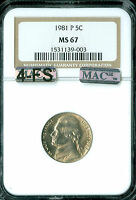 1981 P JEFFERSON NICKEL NGC MAC MS67 4FS SOLO PQ FINEST SPOTLESS .
