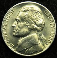 1980 P UNCIRCULATED JEFFERSON NICKEL BU B02