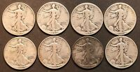 CIRCULATED WALKING LIBERTY HALF DOLLAR LOT 8  1940S,1941,1942,1942S,1943,1945D