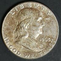 1963 CIRCULATED FRANKLIN HALF DOLLAR COIN