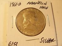 VERY NICE 1961 D SILVER FRANKLIN HALF DOLLAR CHECK OUT THE PICTURES E151