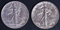 CIRCULATED WALKING LIBERTY HALF DOLLAR COIN LOT 2   1936 D AND 1939