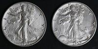 CIRCULATED WALKING LIBERTY HALF DOLLAR COIN LOT 2   1937 AND 1939