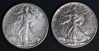 CIRCULATED WALKING LIBERTY HALF DOLLAR COIN LOT 2   1939 AND 1940
