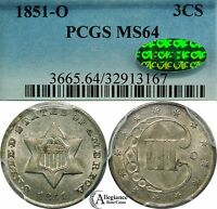 1851 O 3CS THREE CENT SILVER PCGS & CAC MS64  OLD KEY DATE TYPE COIN 3 C.