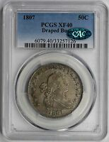 1807 DRAPED BUST HALF DOLLAR 50C EXTRA FINE  40 PCGS CAC APPROVED