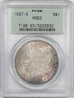 1887-S MORGAN DOLLAR PCGS MINT STATE 63, OGH.   THE REEDED EDGE