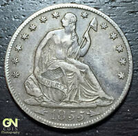 1855 O SEATED LIBERTY HALF DOLLAR      MAKE US AN OFFER  W4358 ZXCV