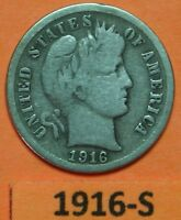 1916 S US BARBER SILVER DIME IN GOOD CONDITION      PRICE PER EACH COIN