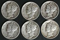 CIRCULATED MERCURY DIME COINS 6 1940,1941,1943S,1943D,1944,1945D   LOT MD3