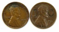 LOT OF 2 1915 D 1C LINCOLN WHEAT CENT PENNIES XF / AU OFF QUALITY 103697