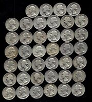ONE ROLL OF WASHINGTON QUARTERS 1935 59  90 SILVER  40 COINS  LOT S15
