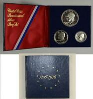 1776 1976 US BICENTENNIAL PROOF SILVER 3 COIN SET IN US MINT PACKAGING