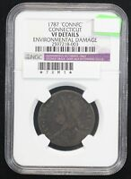 1787 COLONIAL  CENT NGC VF 20 CONNECTICUT ENV DAMAGE