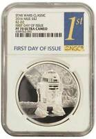 2016 STAR WARS CLASSIC R2 D2 NGC PF70 FIRST DAY OF ISSUE NIUE $2 PROOF SILVER