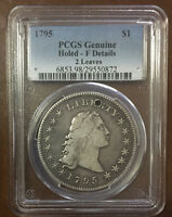 1795  FLOWING HAIR 2 LEAVES SILVER DOLLAR HOLED - PCGS  F