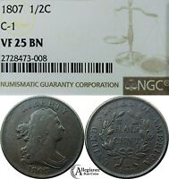 1807 1/2C DRAPED BUST HALF CENT NGC VF25 BN  OLD TYPE COIN C-1 VARIETY