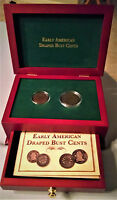 DRAPED BUST 2 COIN SET 1805 ONE CENT & ONE HALF CENT W/DISPLAY CHEST & BOOKLET